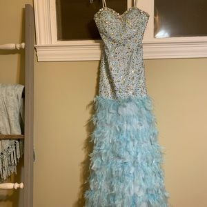 Sparkle and Feather long formal dress